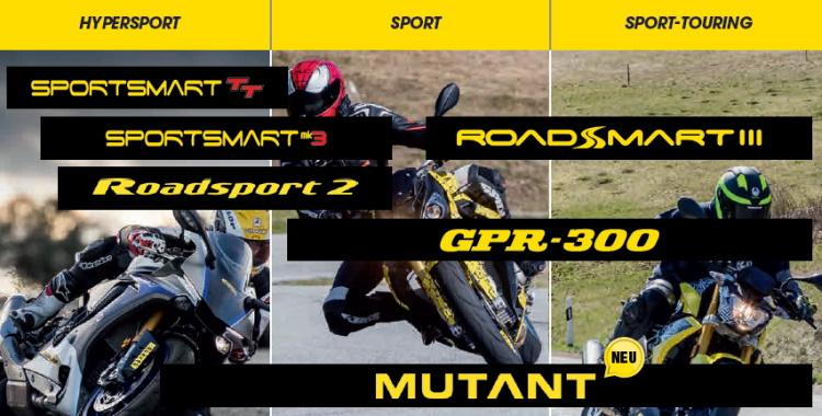 Einteilungstabelle für Dunlop Straßenreifen